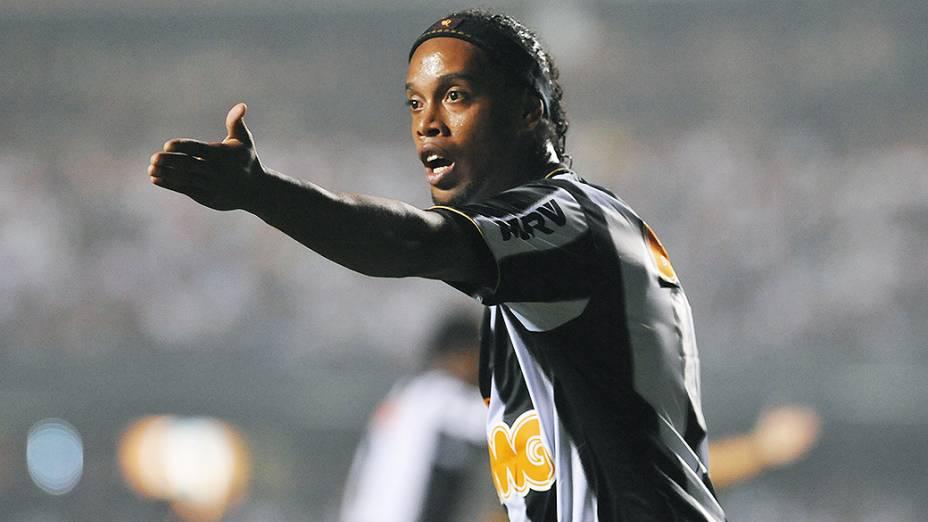 Ronaldinho Gaúcho do Atlético Mineiro (MG) no jogo de ida das oitavas de final da Taça Libertadores da América no Morumbi