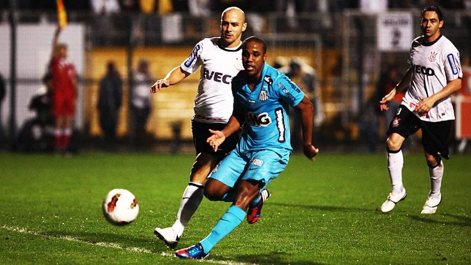 Lance do jogador Borges durante partida entre Corinthians e Santos, no estádio do Pacaembu