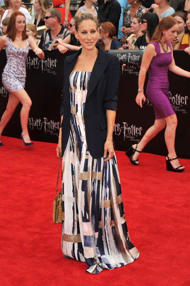 Sarah Jessica Parker no tapete vermelho para a pré-estreia de Harry Potter e as Relíquias da Morte – Parte 2, em Nova York