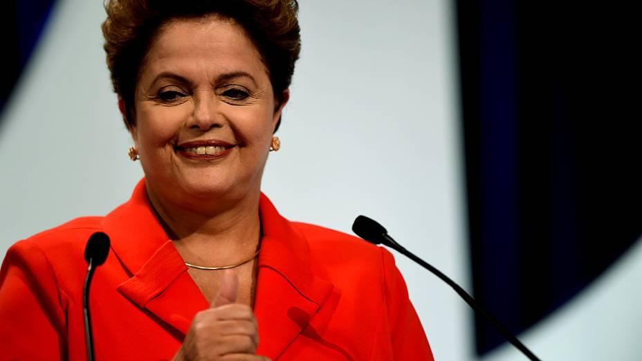 A candidata à Presidência da República, Dilma Rousseff (PT), durante debate promovido pelo SBT, em 01/09/2014