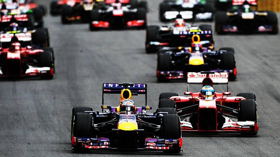 Sebastian Vettel larga em primeiro no GP de Interlagos, em São Paulo