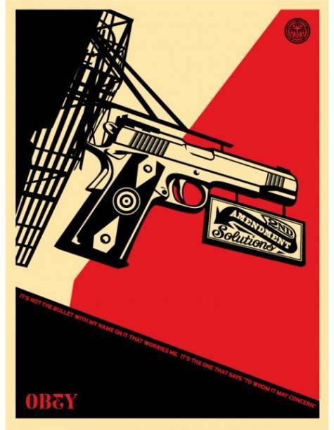 Lançado em 2008, o cartaz faz campanha contra o direito do cidadão americano carregar uma arma, garantido pela 2ª Emenda da Constituição dos Estados Unidos