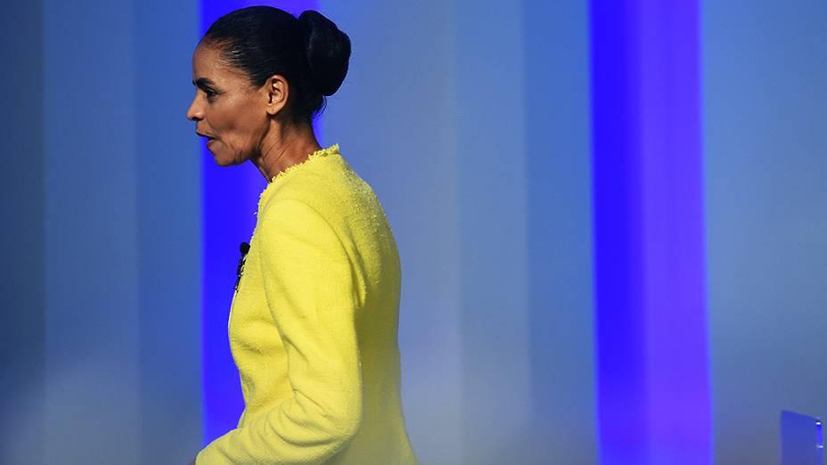 A candidata do PSB à Presidência da República, Marina Silva, antes do debate promovido pela Globo, no Rio