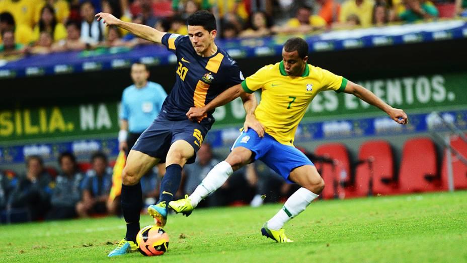 Lucas durante o amistoso entre Brasil e Austrália no estádio Mané Garrincha em Brasília