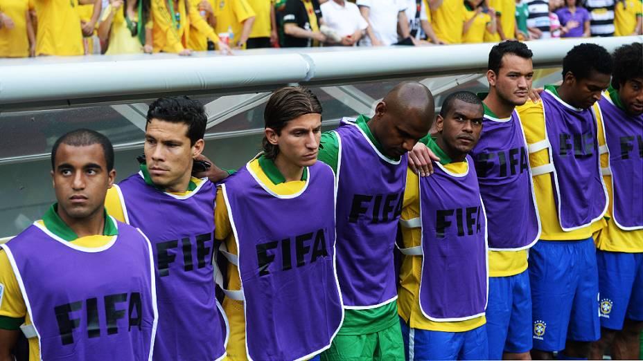 O grupo de jogadores da seleção brasileira de futebol