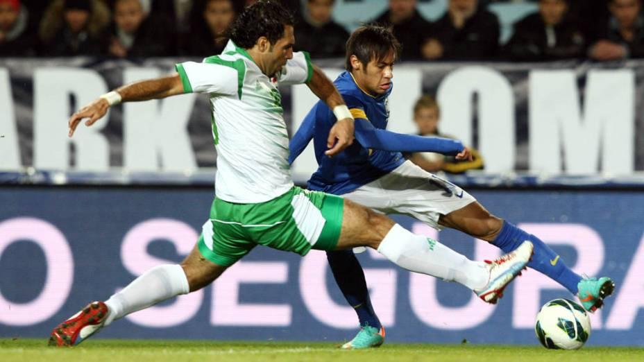 Neymar durante o jogo contra o Iraque