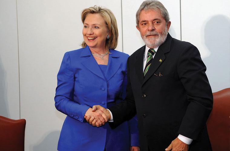 A secretária de estado americana Hillary Clinton se encontrou com o presidente Luiz Inácio Lula da Silva, em Brasília.