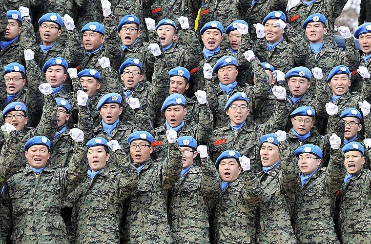 Nesta quarta-feira, soldados sul�coreanos das tropas de paz da ONU participaram de uma cerimônia de despedida - os militares fazem parte da Missão de Estabilização das Nações Unidas no Haiti.