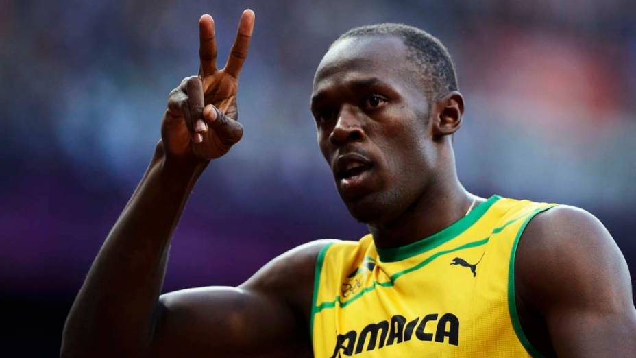 O jamaicano Usain Bolt após vencer bateria das semi-finais dos 100m nas Olimpíadas de Londres, em 05/08/2012
