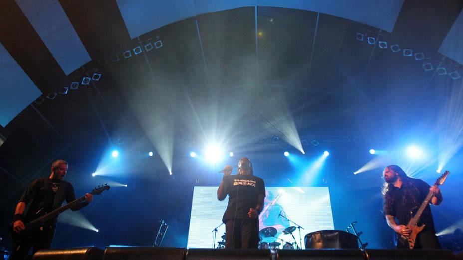 O show do Sepultura no palco Sunset, no terceiro dia do Rock in Rio, em 25/09/2011