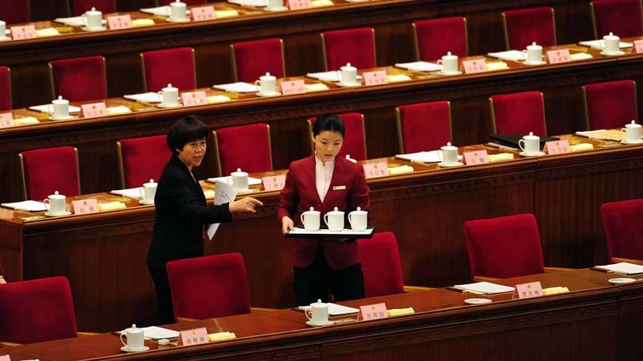 Preparativos para sessão do Congresso Nacional Popular Chinês, em Pequim