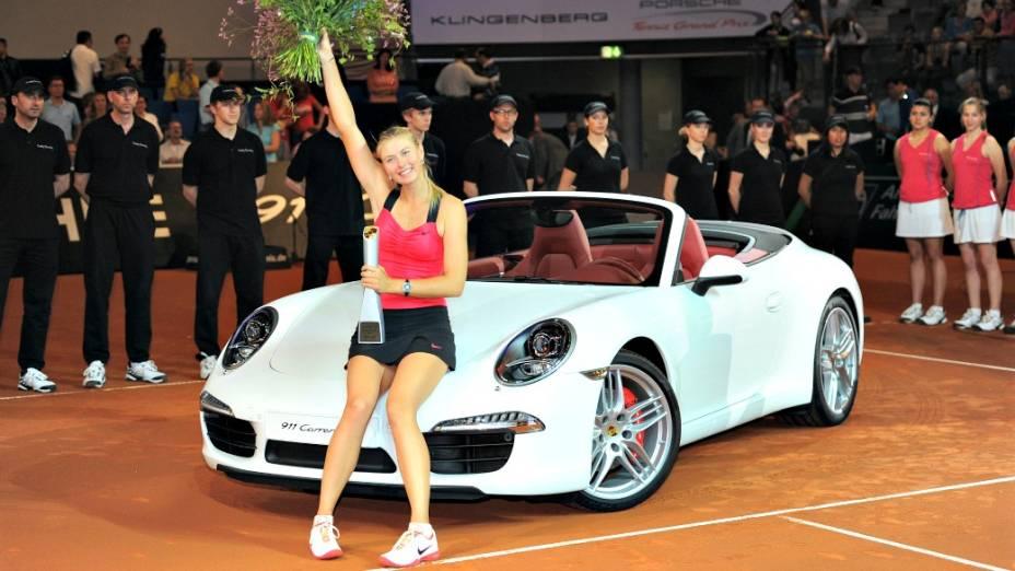 Maria Sharapova durante o torneio Porsche Tennis Grand Prix, em Stuttgart, na Alemanha, em 2011