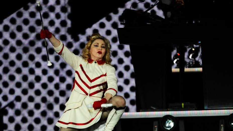 Madonna durante apresentação da MDNA Tour em São Paulo