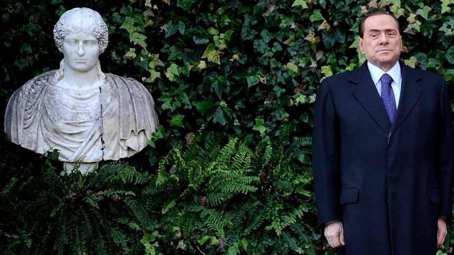 O primeiro ministro italiano Silvio Berlusconi durante encontro com o presidente esloveno Danilo Turk, Roma