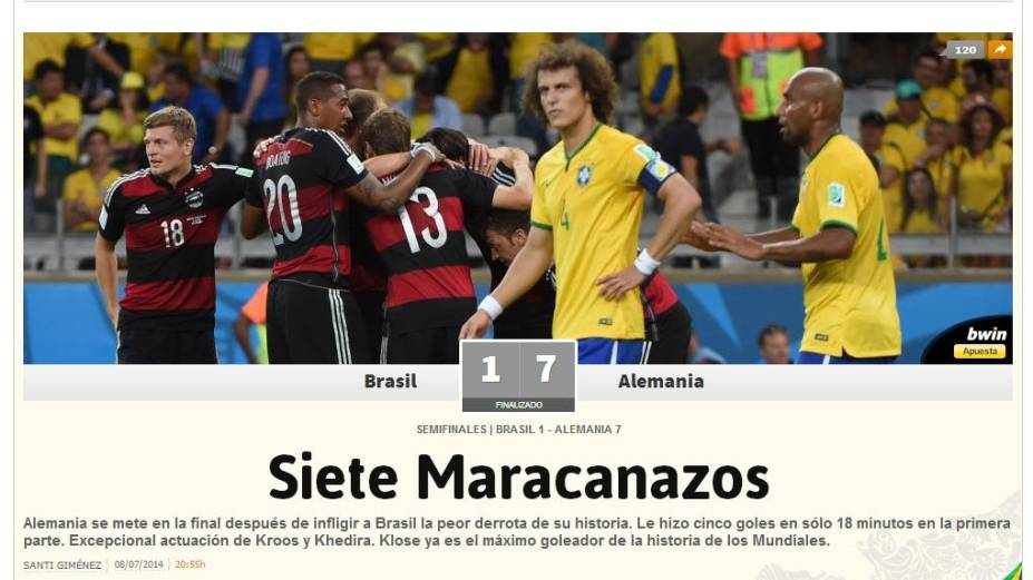 """Jornal espanhol <em>As</em> fez menção à derrota brasileira para o Uruguai na Copa de 1950: """"Sete Maracazos"""""""