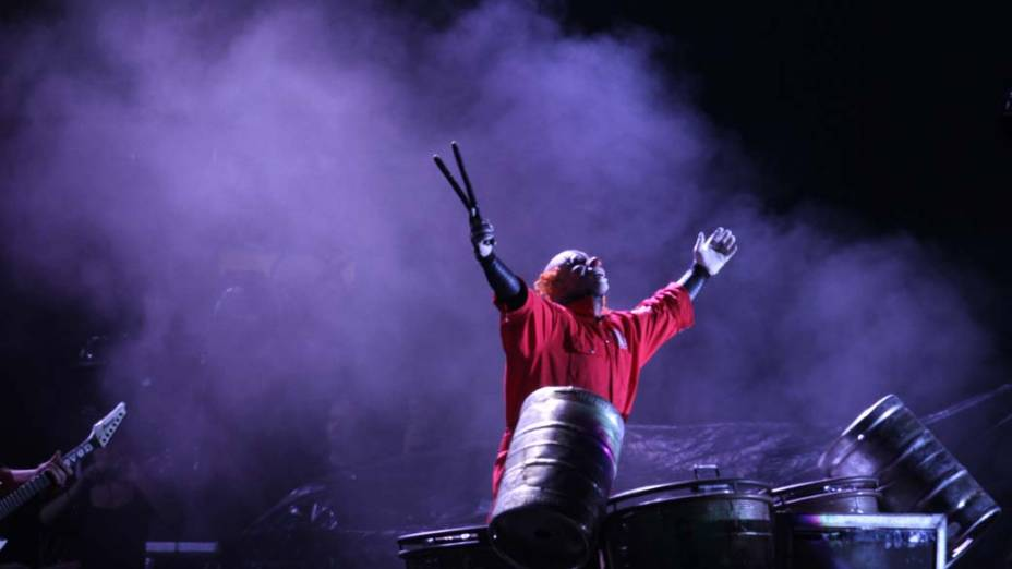 O show da banda Slipknot no palco Mundo, no terceiro dia do Rock in Rio, em 25/09/2011