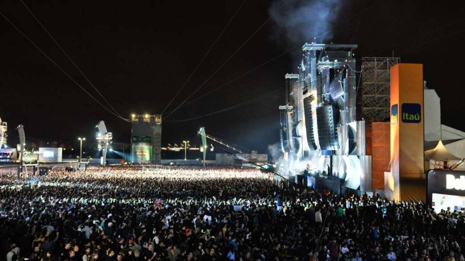 O show do Slipknot no palco Mundo, no terceiro dia do Rock in Rio, em 25/09/2011