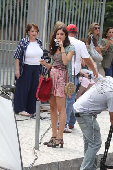 Sophie Charlotte durante gravação na Barra da Tijuca