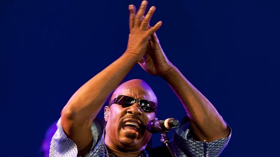 Stevie Wonder durante o show no palco Mundo, no quarto dia do Rock in Rio, em 29/09/2011