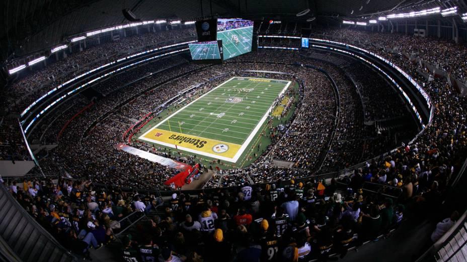 Visão geral do Cowboys Stadium, nos EUA, durante o Super Bowl XLV