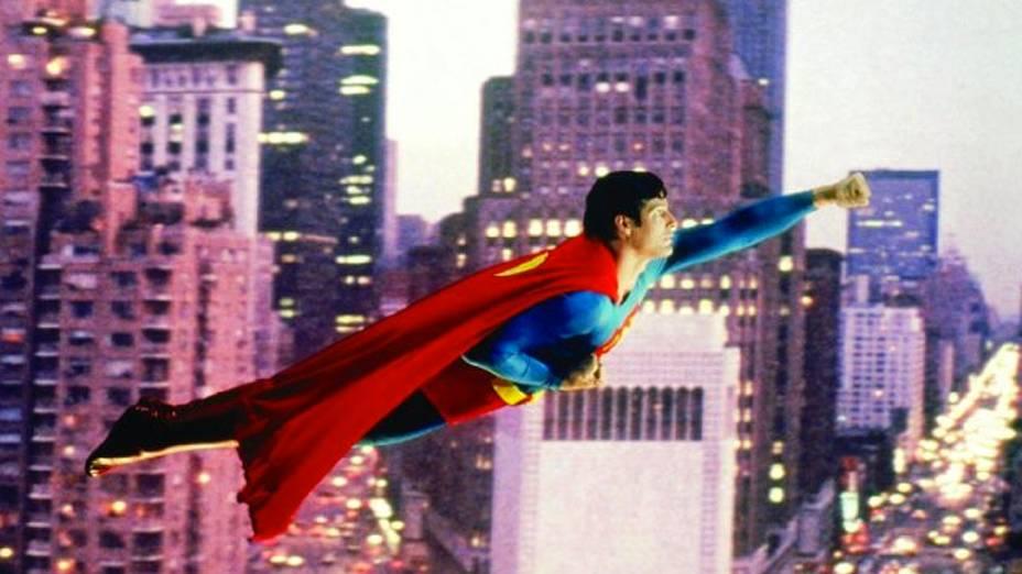 Christopher Reeve como o herói em Superman - O Filme (1978)
