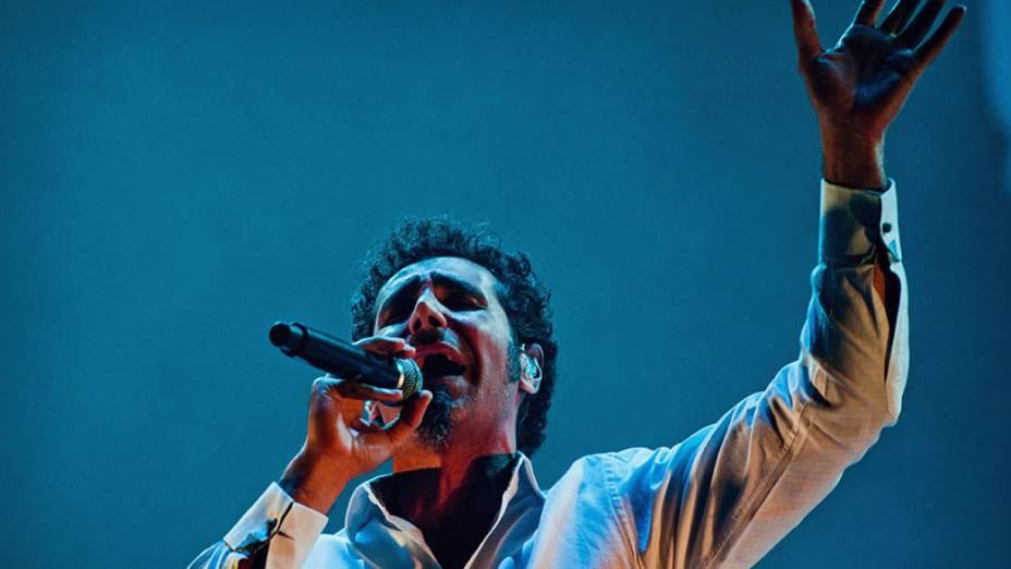 System of a Down durante o show no palco Mundo, no último dia do Rock in Rio, em 02/10/2011