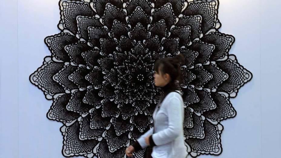 Peça em exposição na feira de tapeçaria Domotex em Hanover, Alemanha
