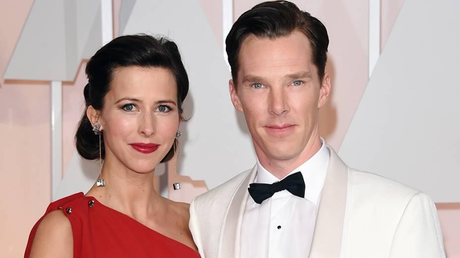 Benedict Cumberbatch e sua mulher Sophie Hunter chegam à cerimônia do Oscar