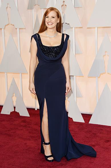 A atriz Jessica Chastain no Oscar 2015