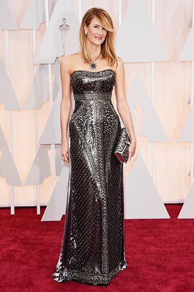 A atriz Laura Dern no Oscar 2015