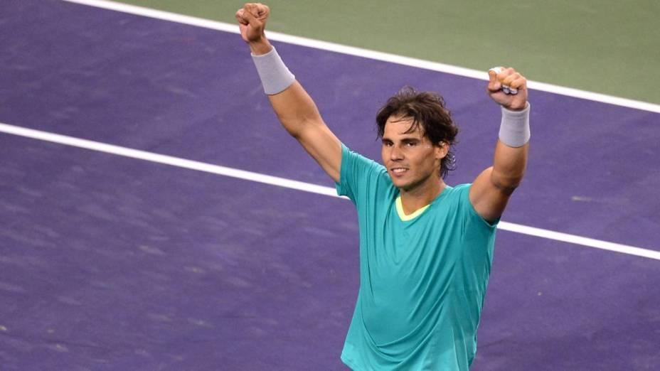 Rafael Nadal comemora vitória sobre Ernests Gulbis no torneio de Indian Wells, nos EUA