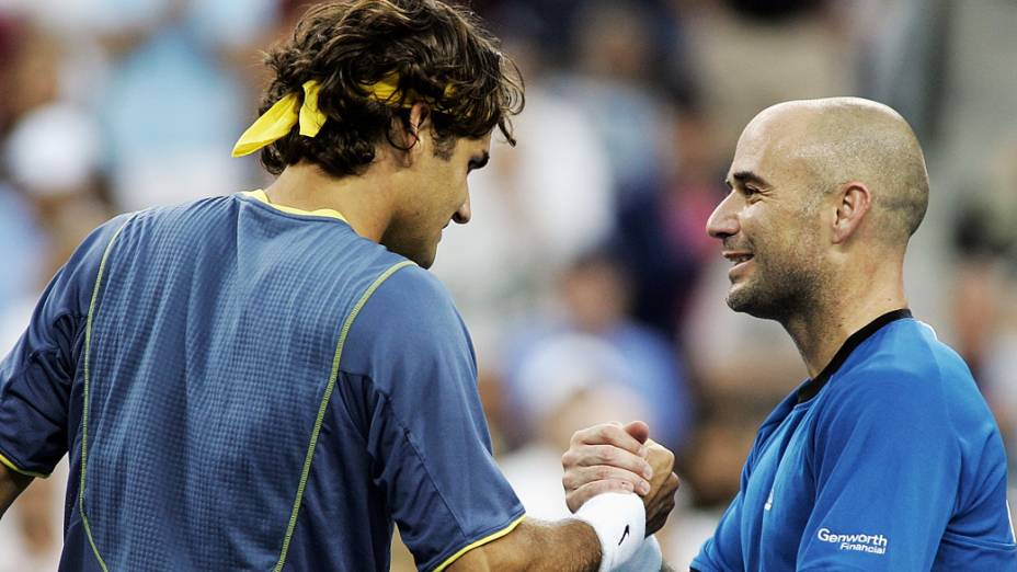 Rogerer Federer superou Andre Agassi na final do US Open de 2005