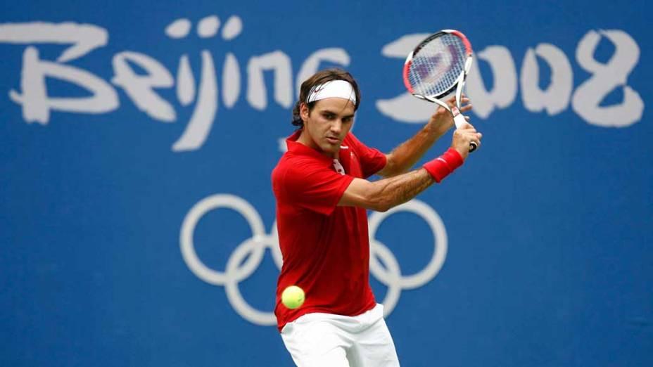 Roger Federer durante os Jogos Olímpicos de Pequim