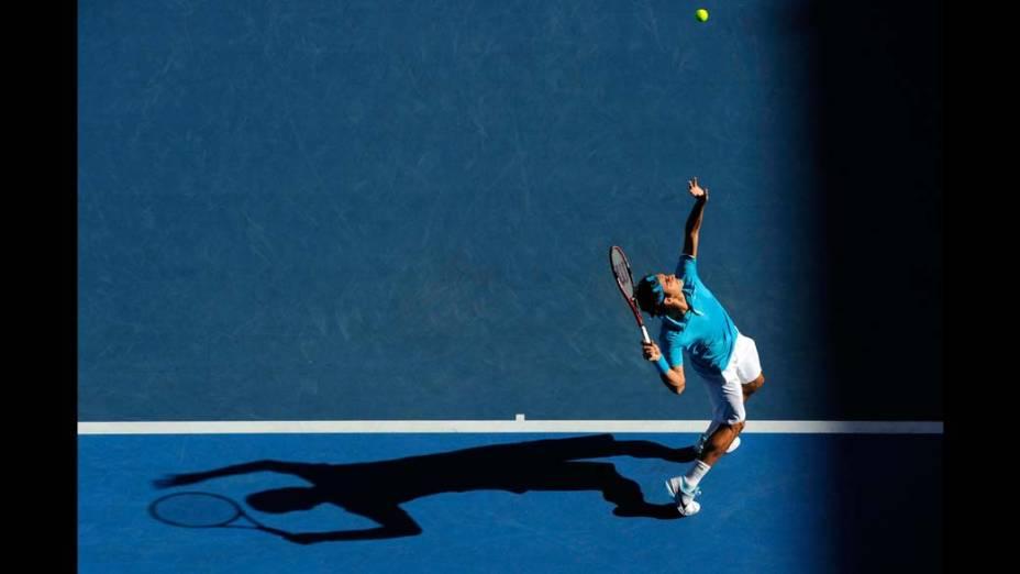 Roger Federer durante o Australian Open em 2010