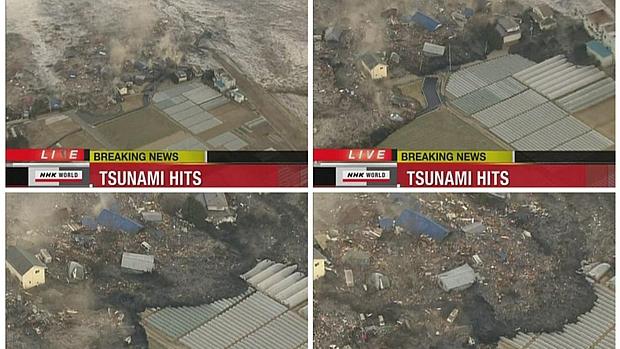 Montagem mostra estragos causados pela chegada do tsunami na cidade costeira de Sendai.