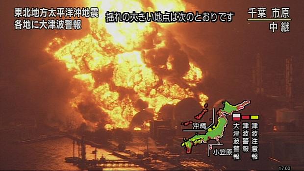 Refinaria na cidade de Chiba pega fogo após o tremor causado pelo terremoto de 8,9 graus na tarde desta sexta-feira.