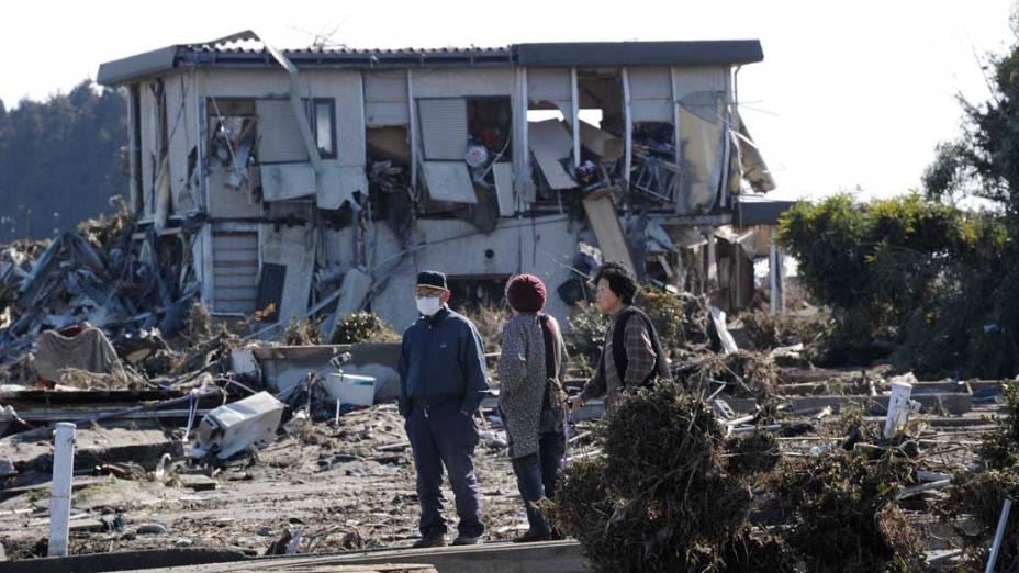 Destruição após tsunami em Minamisoma, Japão