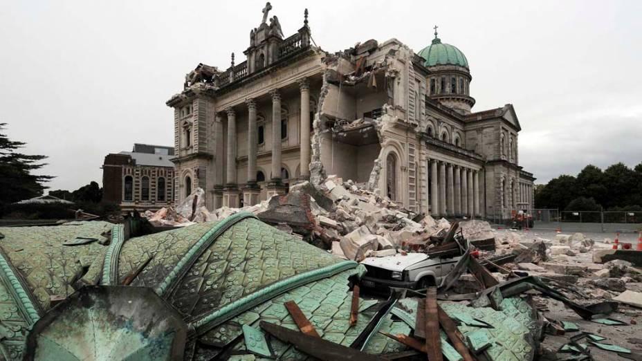 Catedral, após terremoto em Christchurch, Nova Zelândia