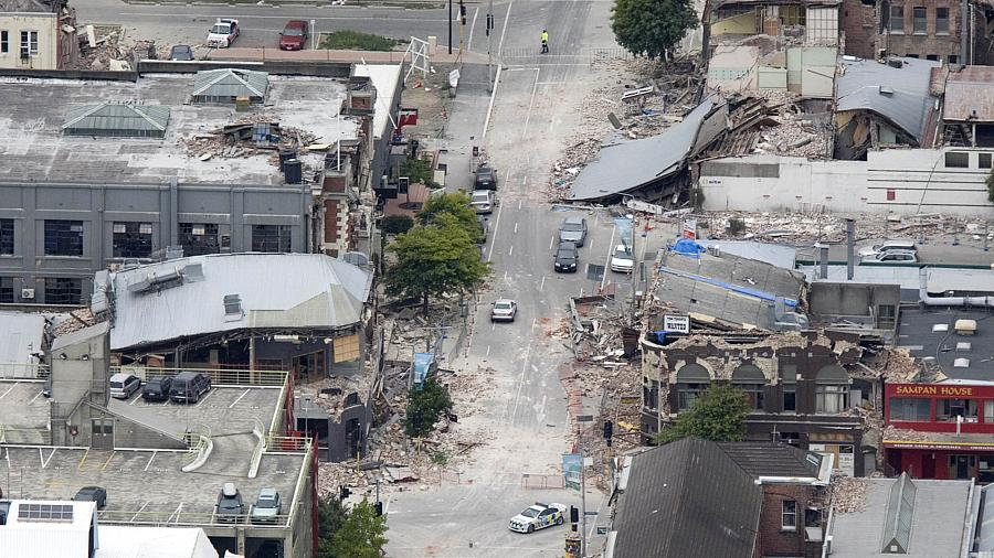 Vista aérea da destruição provocada pelo terremoto no centro de Christchurch, na Nova Zelândia