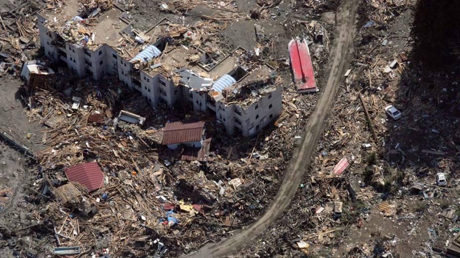 Destruição na cidade de Sendai, Japão