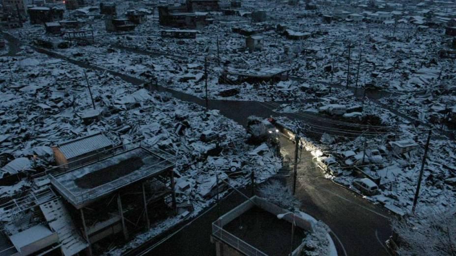 Área devastada na cidade de Yamada, Japão