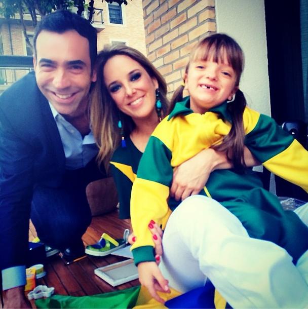 Ticiane Pinheiro, César Tralli e Rafaella torcem pelo Brasil