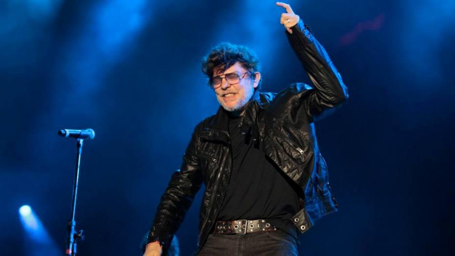 Branco Mello durante o show dos Paralamas do Sucesso e Titãs no palco Mundo, no primeiro dia do Rock in Rio, em 23/09/2011