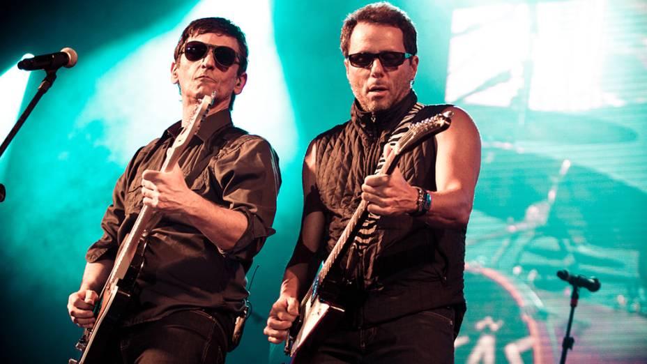 Titãs e Xutos & Pontapés durante o show no palco Sunset, no último dia do Rock in Rio, em 02/10/2011