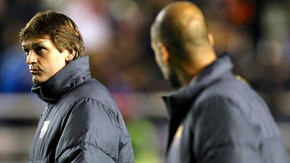 Tito Vilanova e Pep Guardiola nos tempos de parceria no Barcelona: atrito em público