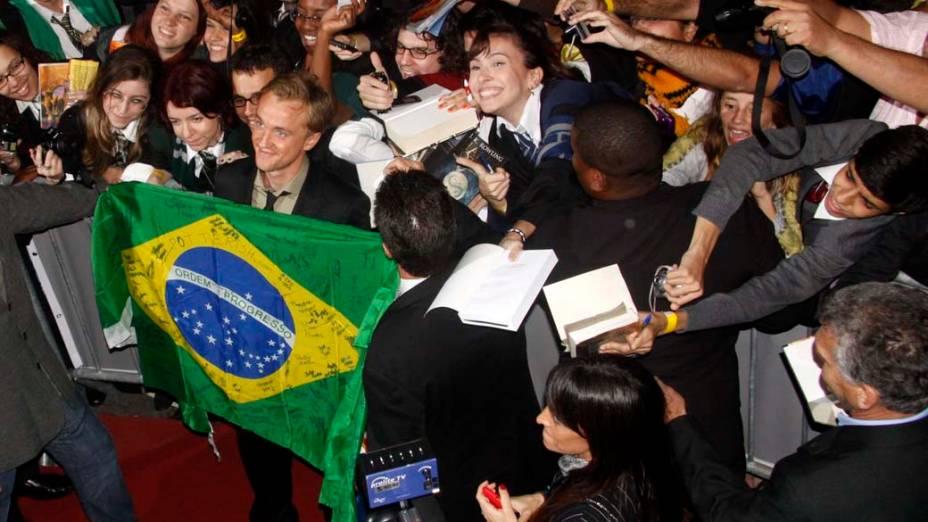 Tom Felton na pré-estreia de Harry Potter e as Relíquias da Morte - Parte 2, no Morro da Urca, Rio de Janeiro