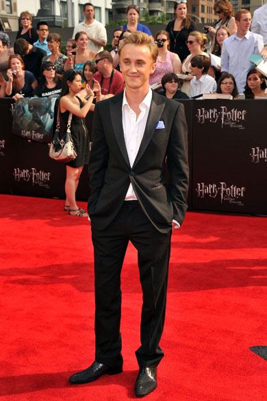 Tom Felton no tapete vermelho para a pré-estreia de Harry Potter e as Relíquias da Morte – Parte 2, em Nova York