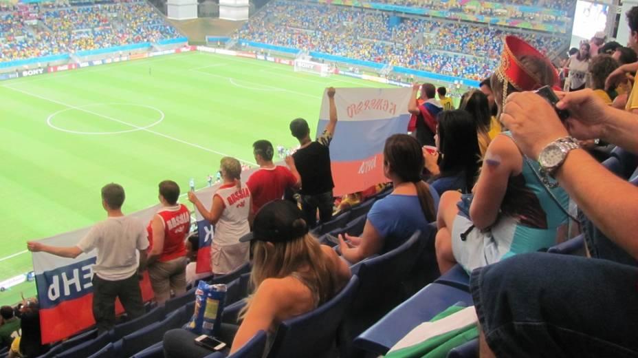 Torcedores russos na Arena Pantanal, na partida entre Rússia e Coreia do Sul