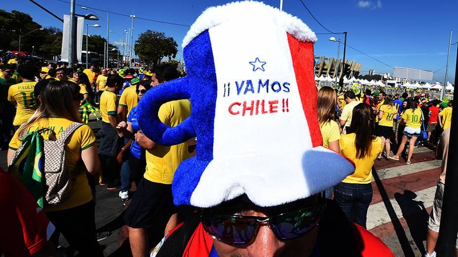 Torcedores antes da partida entre Brasil e Chile, em Belo Horizonte