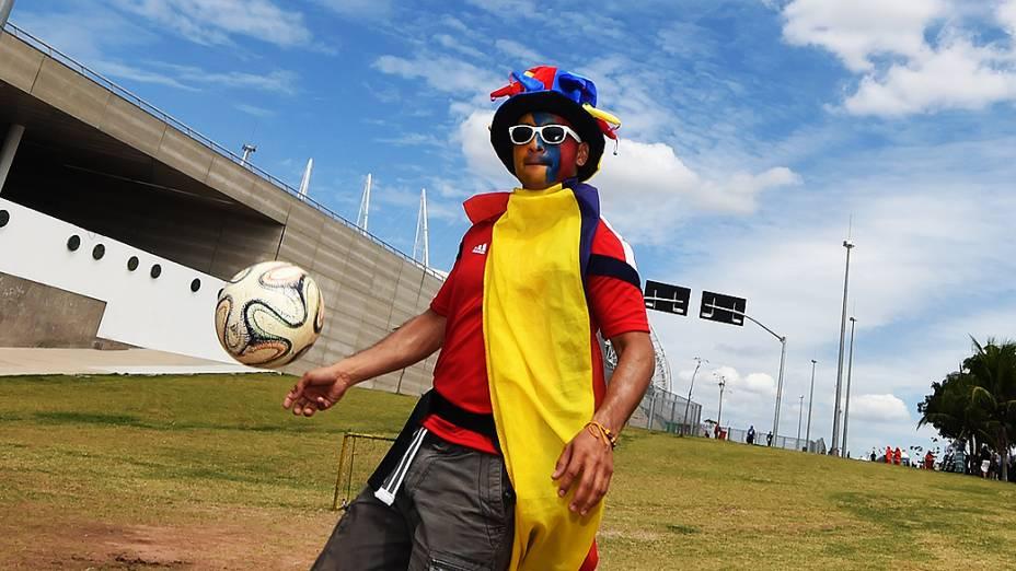 Torcedores antes da partida entre Brasil e Colômbia